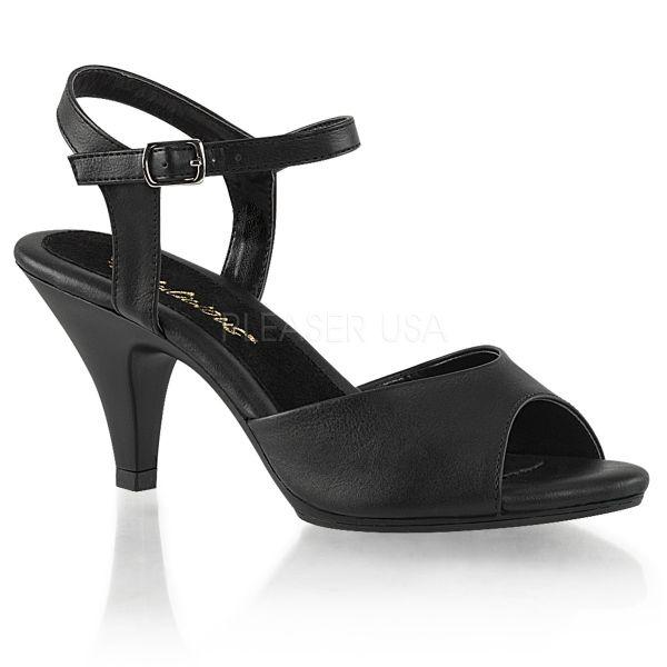 Belle-309 Klassische Sandalette mit Riemchen schwarz Kunstleder